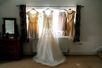 Wedding dresses hanging up before a canterbury wedding