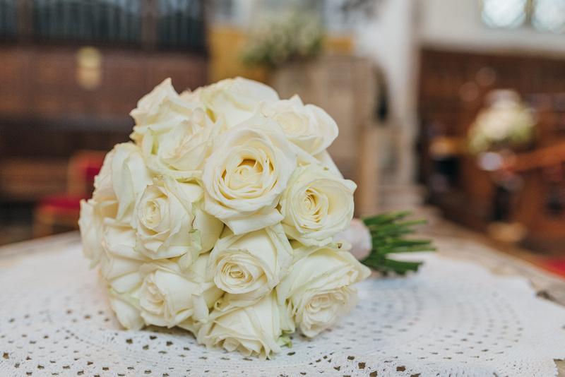 brides bouquet at a wedding at St. Marys Church Chartham