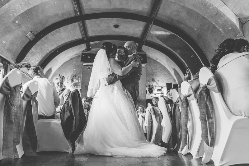 The bride and groom during their fist dance at a wedding in Brighton
