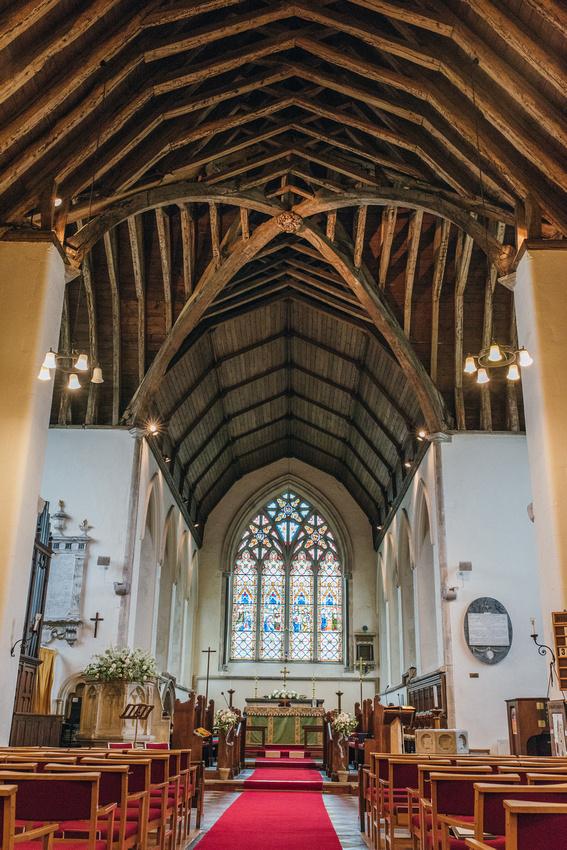 inside St. Marys church Chartham before a wedding